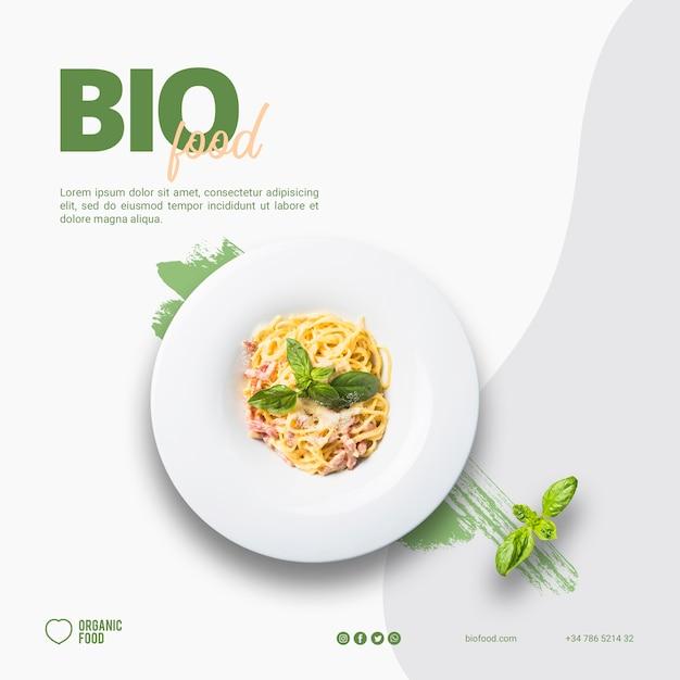 Modello di banner quadrato di cibo biologico Psd Gratuite