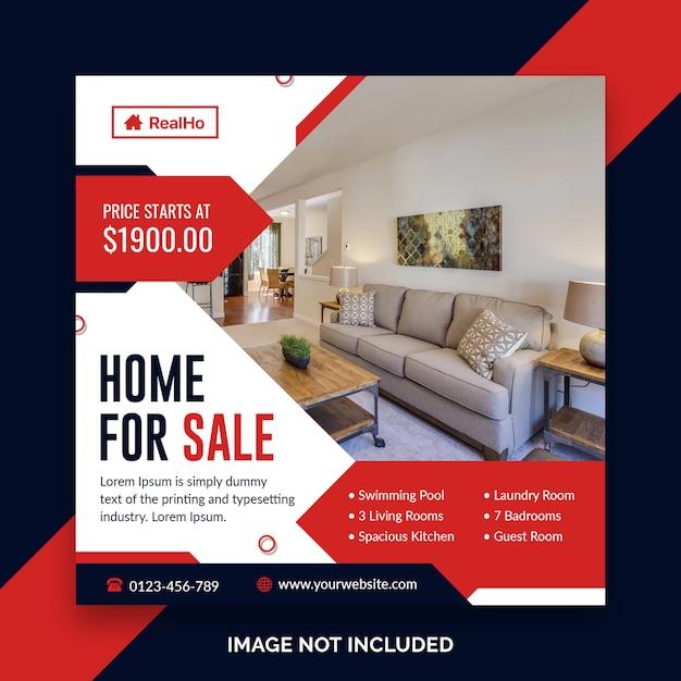 Modello di banner quadrato immobiliare Psd Premium