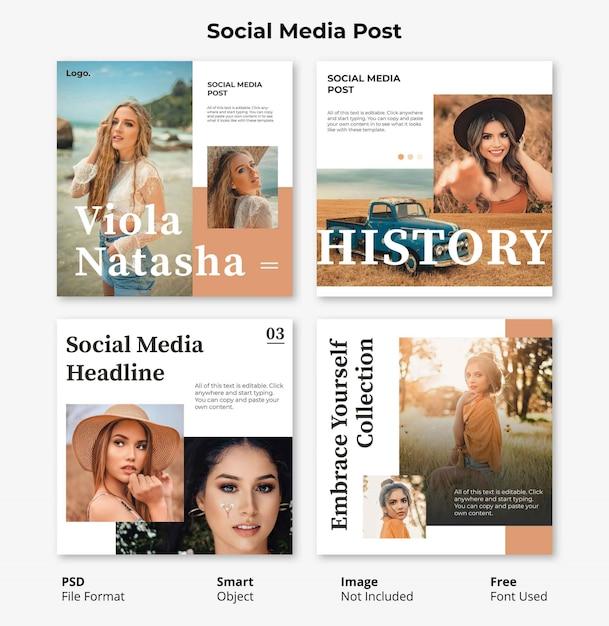 Modello di banner sociale post modificabile minimal fashion square Psd Premium