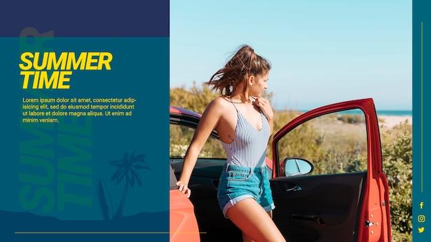 Modello di banner web con il concetto di estate Psd Gratuite