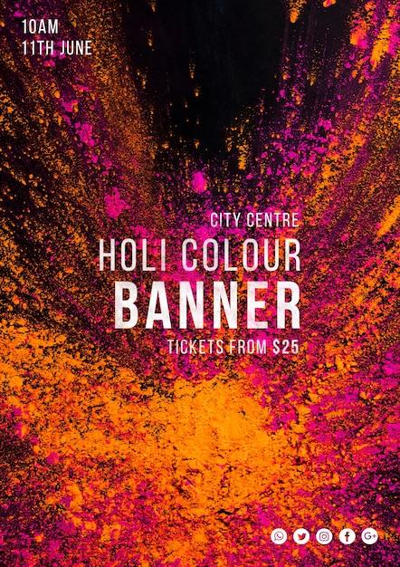 Modello di banner web per il festival di holi Psd Gratuite