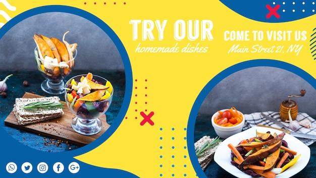 Modello di banner web per ristorante in stile memphis Psd Gratuite