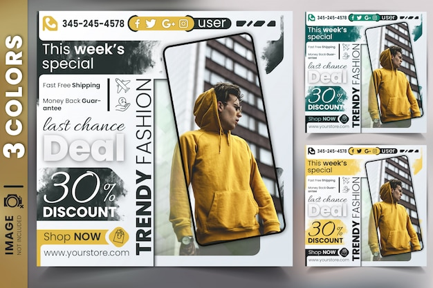 Modello di banner web vendita di sconto Psd Premium