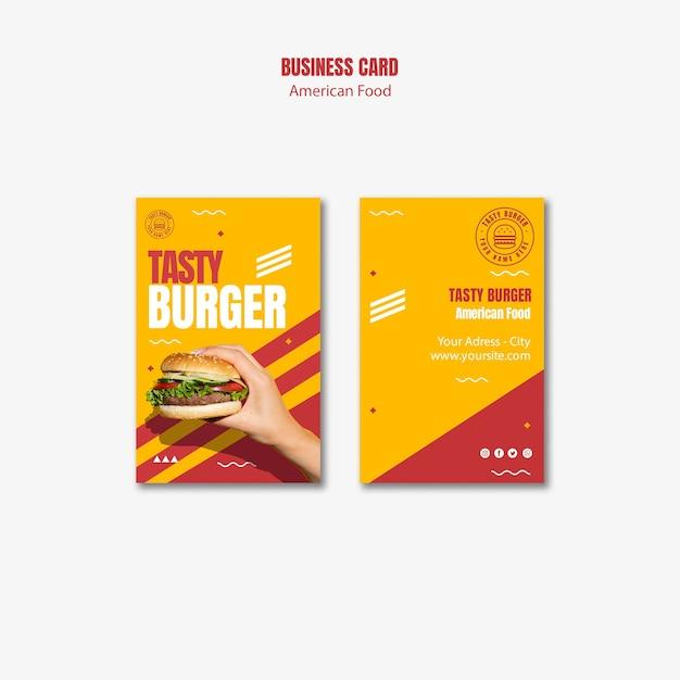 Modello di biglietto da visita di cibo americano hamburger Psd Gratuite