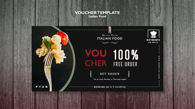 Modello di buono cibo italiano Psd Gratuite