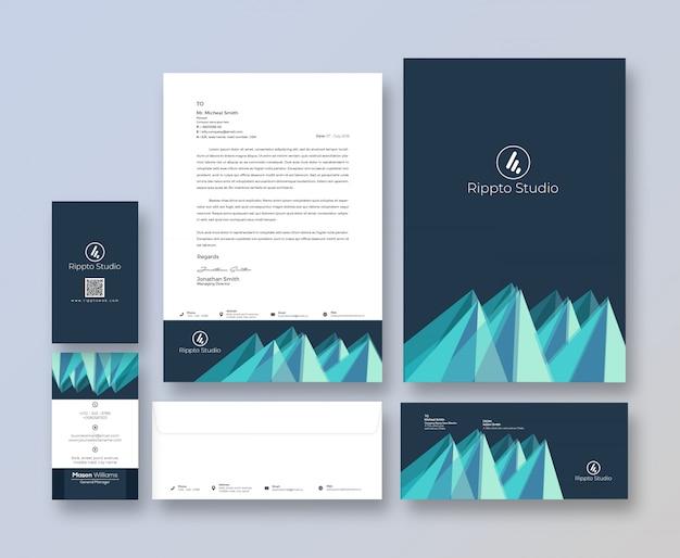 Modello di cancelleria di identità di branding creativo Psd Premium