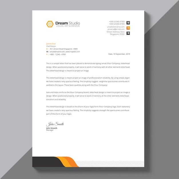 Modello di carta intestata con dettagli arancioni Psd Gratuite