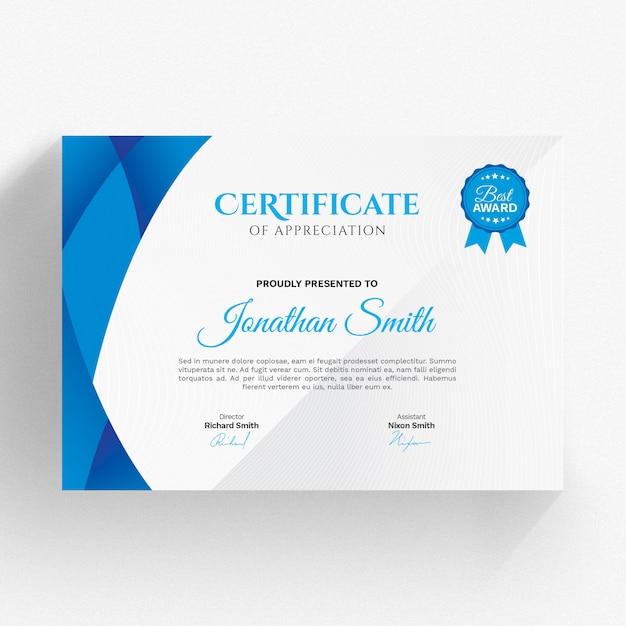 Modello di certificato blu moderno Psd Premium