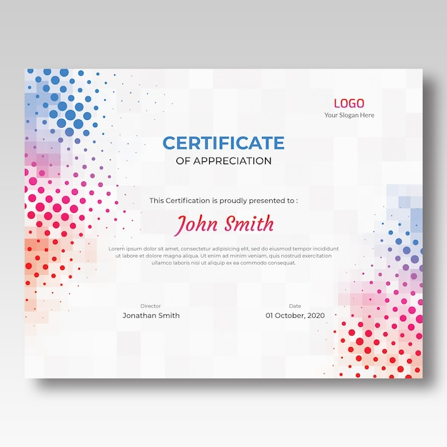 Modello di certificato colorato a mosaico e mezzitoni Psd Premium