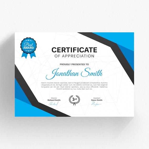 Modello di certificato moderno Psd Premium
