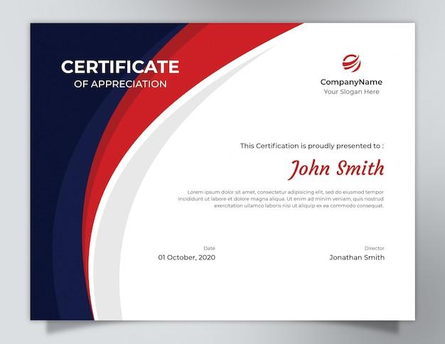 Modello di certificato onde blu scuro e rosso con motivo poligonale Psd Premium