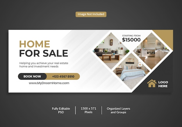 Modello di copertina della sequenza temporale di facebook per la vendita di immobili Psd Premium