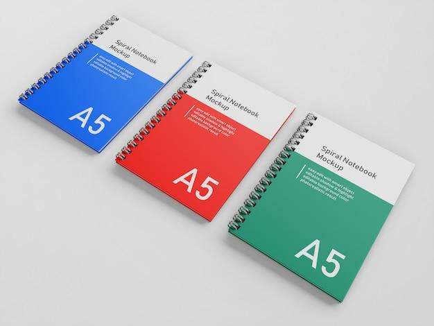 Modello di design mock up per notebook a tre copertina rigida con copertina rigida premium a tre in alto a destra Psd Premium