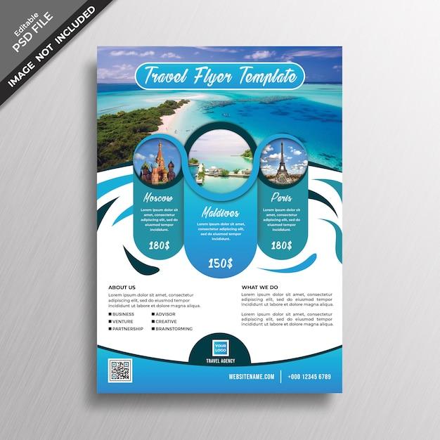 Modello di disegno astratto blu flyer di viaggio Psd Premium
