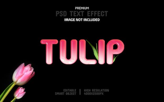 Modello di effetto testo tulip modificabile Psd Premium