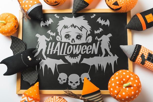 Modello di halloween con il concetto di ardesia Psd Gratuite