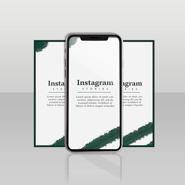 Modello di instagram post con smartphone e concetto floreale Psd Gratuite