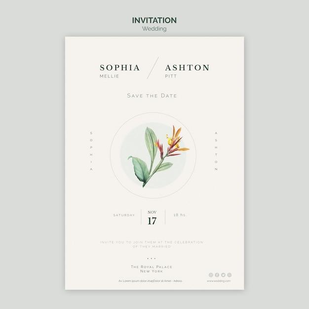 Modello di invito di matrimonio elegante Psd Gratuite