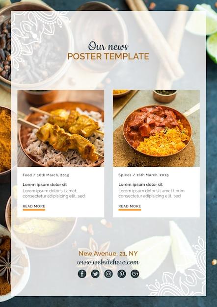 Modello di manifesto di cibo indiano moderno Psd Gratuite