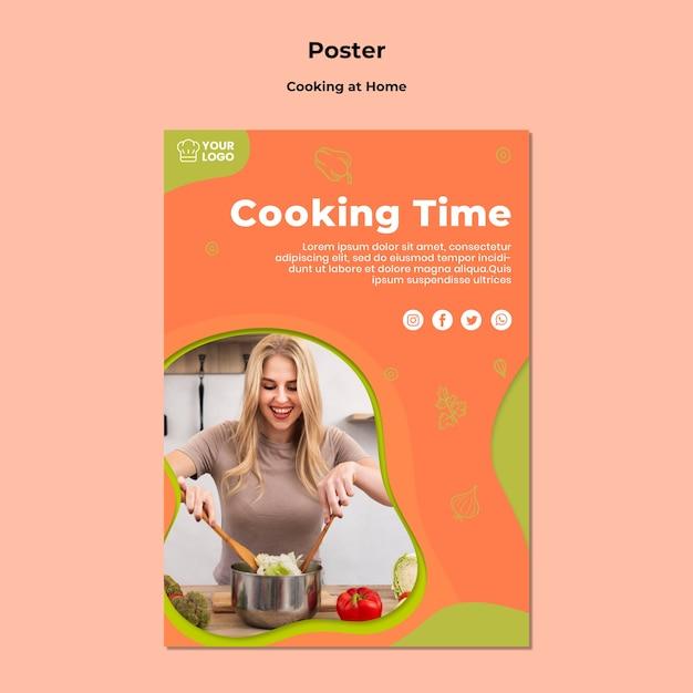 Modello di manifesto di cucina casalinga a casa Psd Gratuite