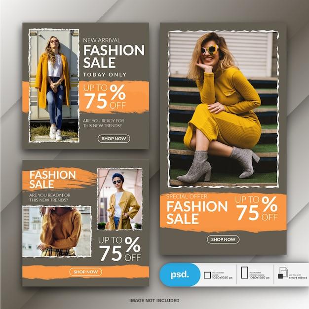Modello di media sociali di banner web di moda Psd Premium