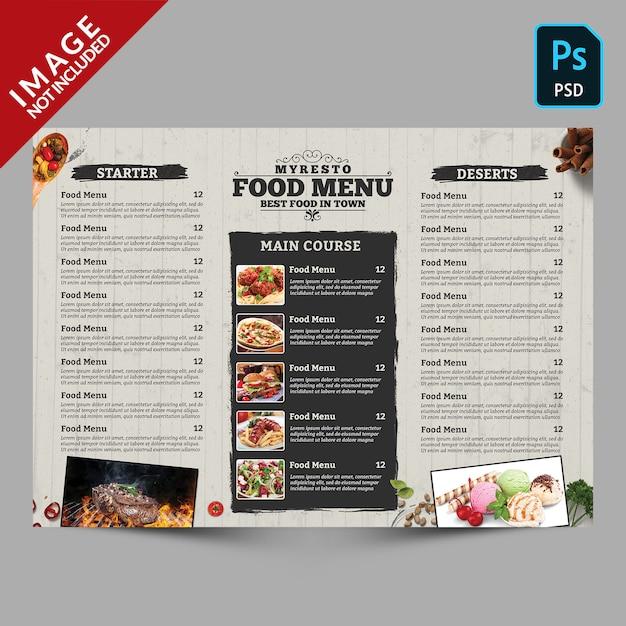 Modello di menu alimentare Psd Premium