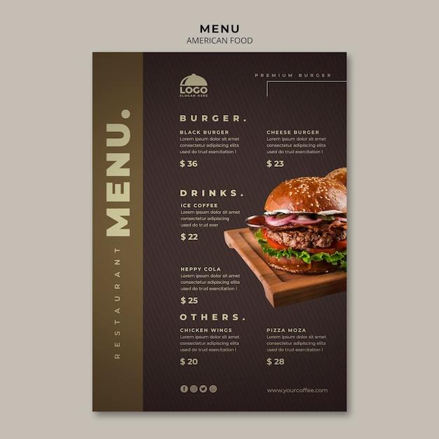 Modello di menu burger Psd Gratuite