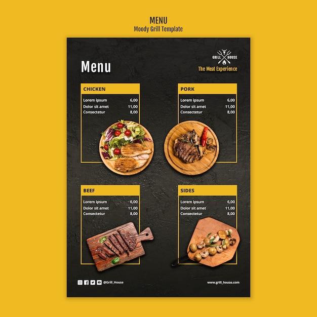 Modello di menu casa grill Psd Gratuite