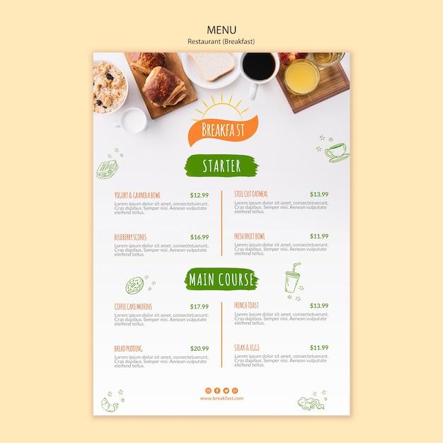 Modello di menu del ristorante colazione e caffè Psd Gratuite