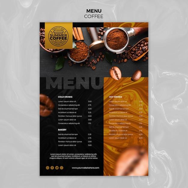 Modello di menu della caffetteria Psd Gratuite