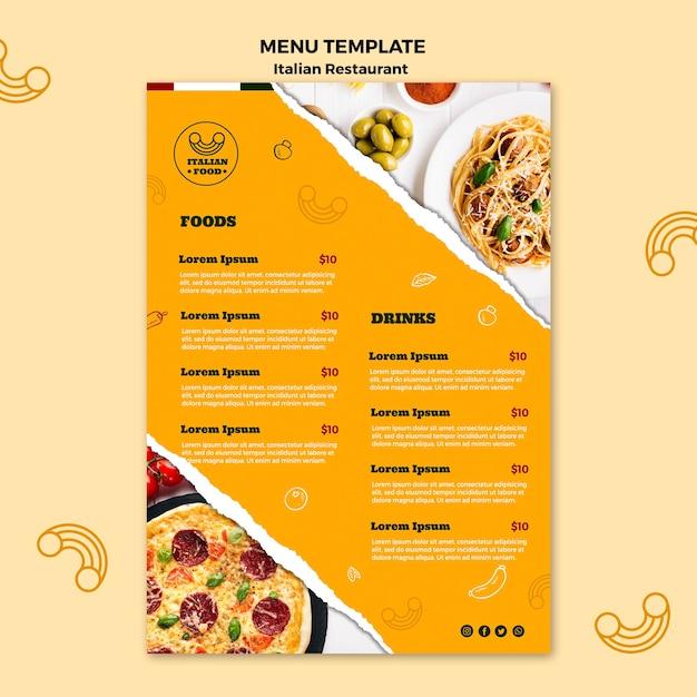 Modello di menu di cibo italiano Psd Gratuite