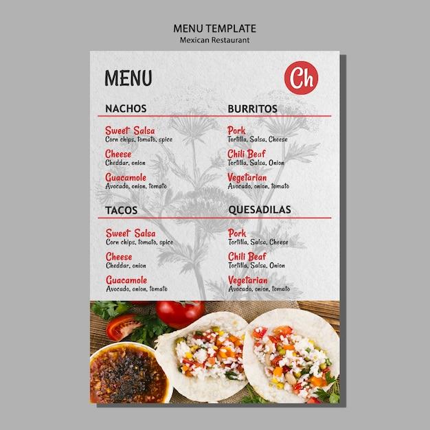 Modello di menu per ristorante messicano Psd Gratuite