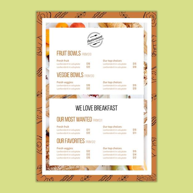 Modello di menu per ristorante Psd Gratuite