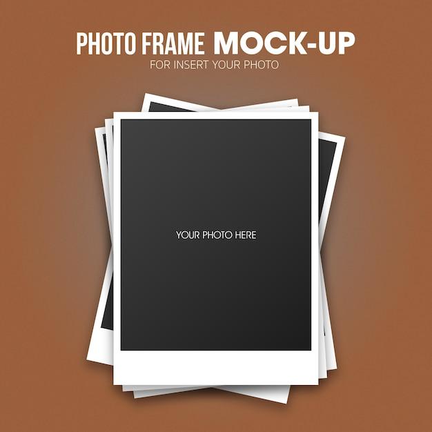 Modello di mockup cornice per foto polaroid Psd Premium