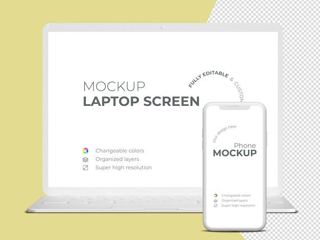 Modello di mockup dello schermo e del telefono del computer portatile di frontview minimalista Psd Premium
