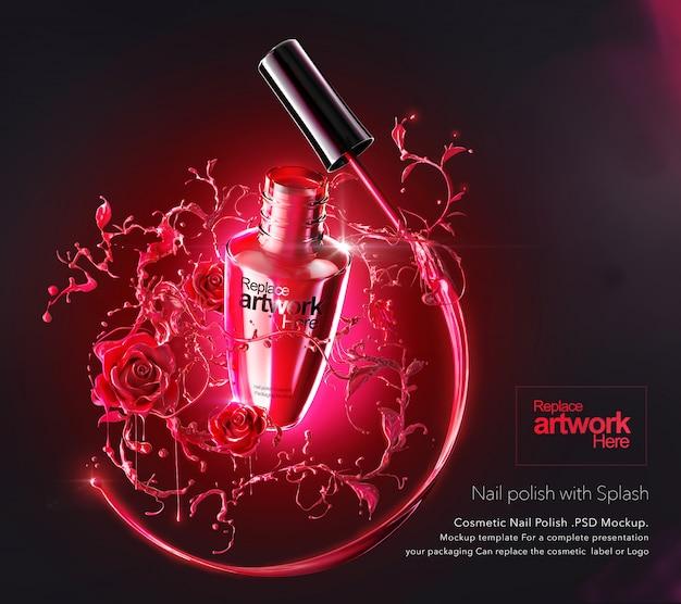 Modello di modello di pacchetto di prodotti cosmetici smalto per unghie e splash in sfondo a forma di rosa. Psd Premium