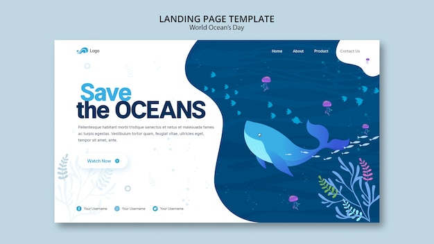 Modello di pagina di destinazione con giornata mondiale dell'oceano Psd Gratuite
