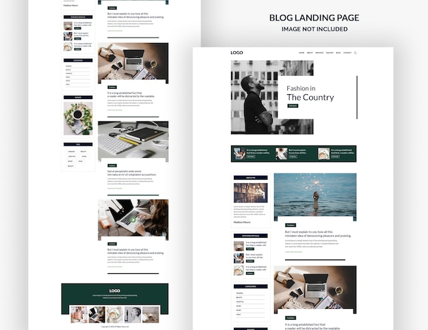 Modello di pagina di destinazione del blog Psd Premium