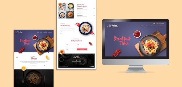 Modello di pagina di destinazione del ristorante per la colazione Psd Gratuite