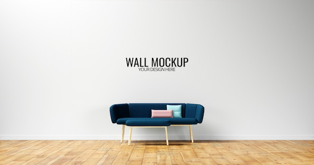 Modello di parete interna minimalista con divano blu navy Psd Premium