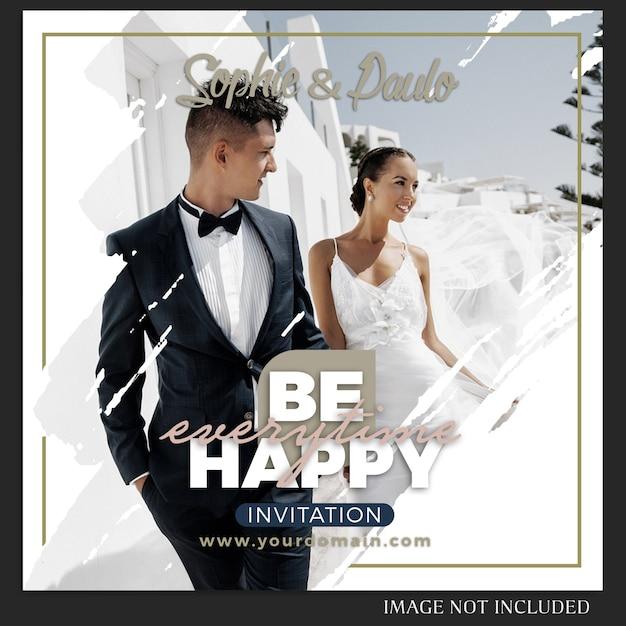 Modello di post di nozze di instagram Psd Premium