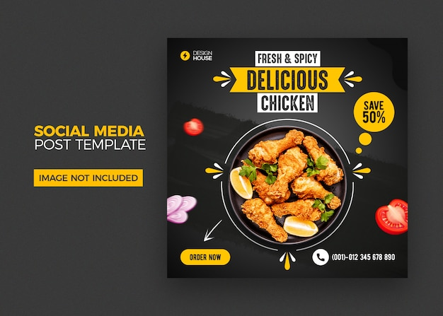Modello di post di social media alimentare Psd Premium