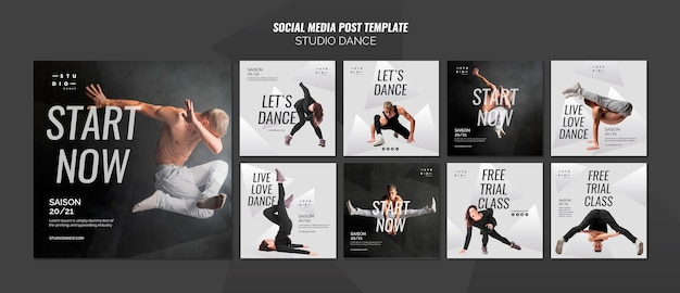 Modello di post di social media dance studio Psd Gratuite