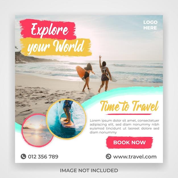 Modello di post di social media di viaggio di viaggio Psd Premium