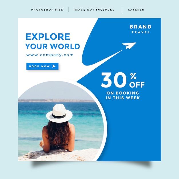 Modello di post di social media di viaggio Psd Premium
