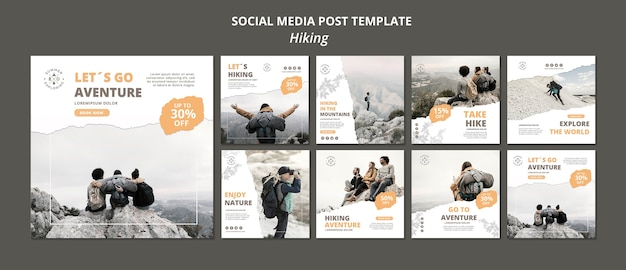 Modello di post di social media escursionismo Psd Gratuite
