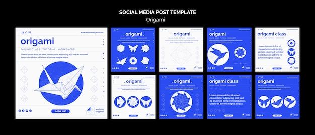 Modello di post di social media origami Psd Gratuite