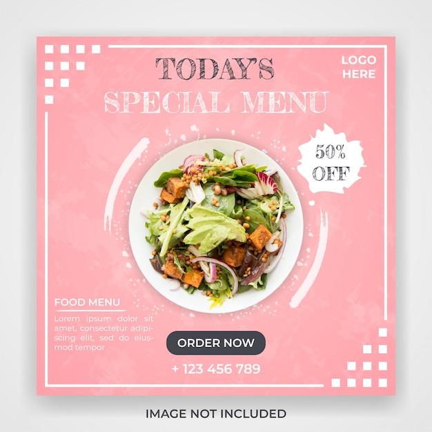 Modello di post di social media promozione menu cibo Psd Premium