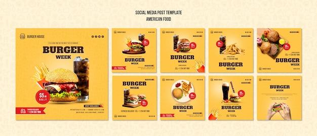 Modello di post social media cibo americano Psd Gratuite