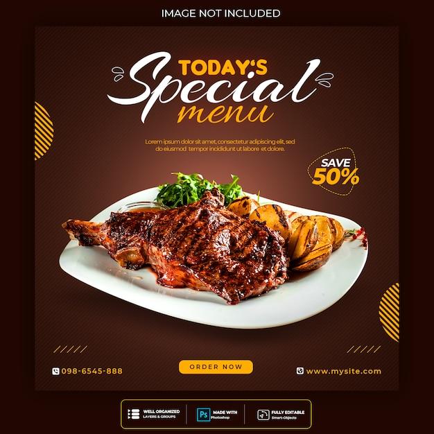 Modello di post social media cibo delizioso Psd Premium